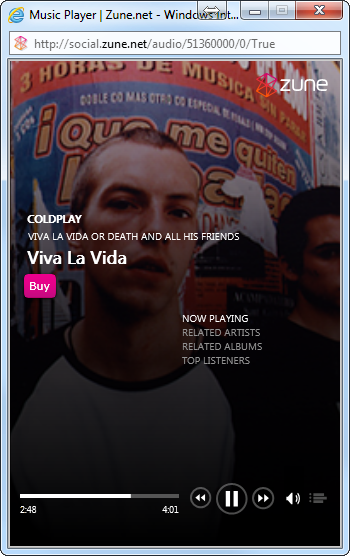 Zune web player