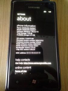 Samsung Omnia7 About 8773